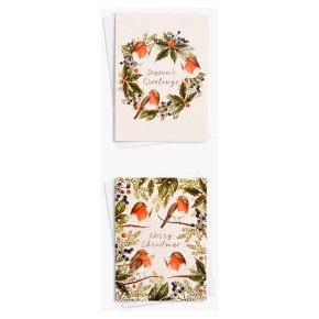 John Lewis Christmas Robin Wreath Card