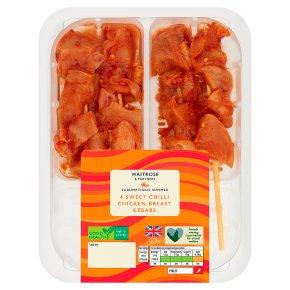 Waitrose Sweet Chilli Chicken Breast Kebabs 4s
