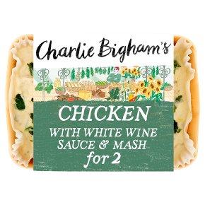 Charlie Bigham's chicken with white wine sauce & mash