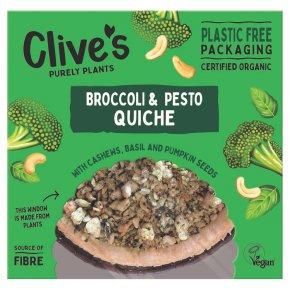 Clive's Organic Broccoli & Pesto Quiche