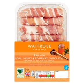 Waitrose 8 Honey & Rosemary Pork Chipolatas in Bacon