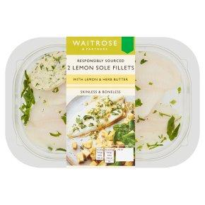 Waitrose 2 Lemon Sole Fillets with Lemon & Herb Butter