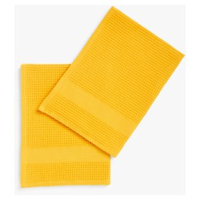 John Lewis Waffle Tea Towels, Pack of 2, Ochre