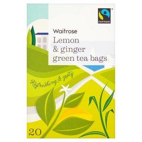 Waitrose Lemon & Ginger 20 Green Tea Bags