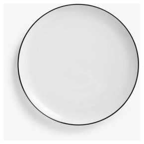House by John Lewis Eat Rim Coupe Dinner Plate, Dia. 28cm, White/Black