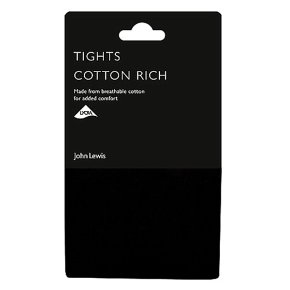 John Lewis Opaque Black Cotton Rich Tights - Large