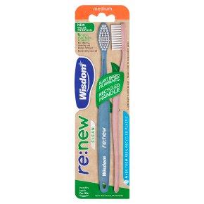 Wisdom Renew Medium Twinpack Toothbrush