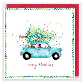 Merry Christmas Car and Tree Card