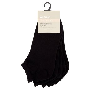 Waitrose Cotton Rich Black Trainer Socks