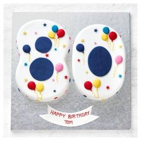 80th Birthday Balloon & Stars Cake