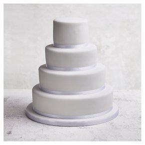 Fruit & Golden Sponge Classic Ribbon Wedding Cake