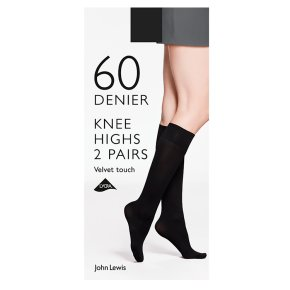 John Lewis Velvet Knee Highs Black