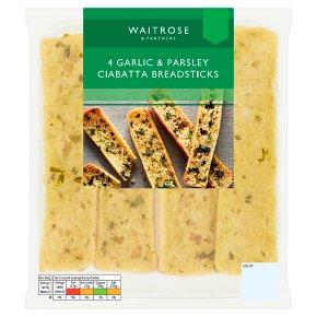 Waitrose 4 Garlic & Parsley Ciabatta Breadsticks