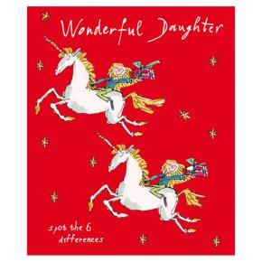 Girl Riding A Unicorn Card