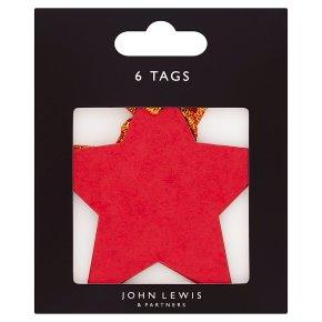 John Lewis Kraft Red Star Gift Tags