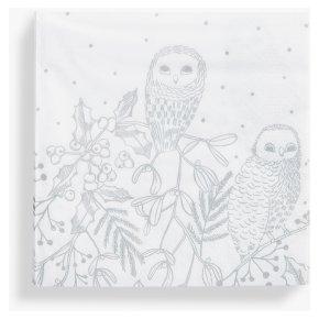 33CM Silver Owl Foliage Napkin