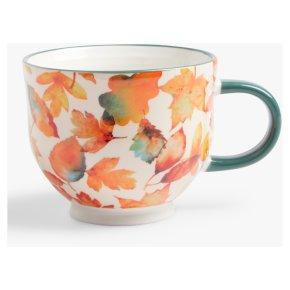 John Lewis Floral Footed Autumn Leaves Mug