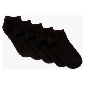John Lewis Trainer Socks Black 5 Pair