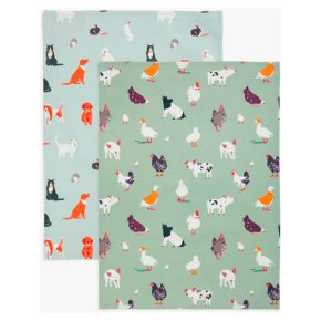 John Lewis Farm Animals Tea Towels, Pack of 2, Blue/Multi