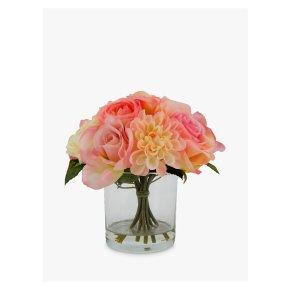 John Lewis Rose Dahlia Mix In Glass Pot