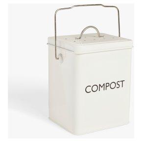 John Lewis Enamel Cream Compost Tin