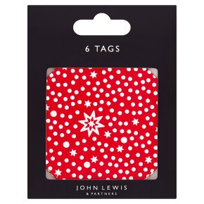 John Lewis Red Snowy Star Gift Tags