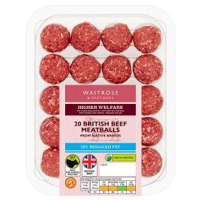 Waitrose Reduced Fat British Beef Meatballs