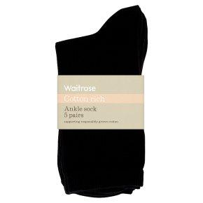 Waitrose Cotton Rich Black Ankle Socks
