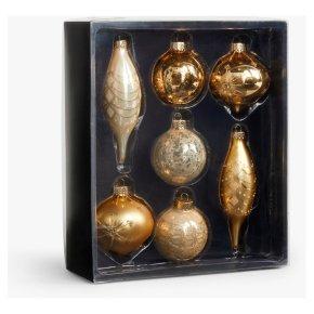 John Lewis Gold Baubles Boxed 7pk