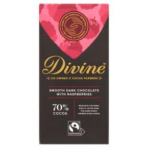 Divine Fairtrade 70% Dark Chocolate with Raspberries