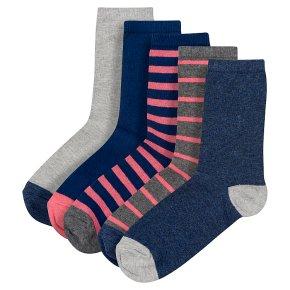 Waitrose Pink/Navy Stripe Ankle Socks