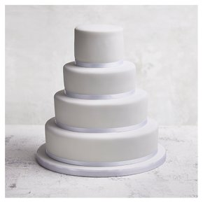 Golden Sponge Classic Ribbon Wedding Cake