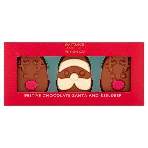Waitrose Christmas Festive Chocolate Santa & Reindeer