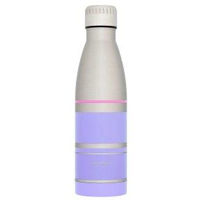 Waitrose Steel Water Bottle Purple Stripe
