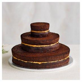 Chocolate Salted Caramel Three Tier Naked Wedding Cake