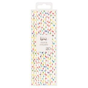 Waitrose Home Coloured Star Paper Straws