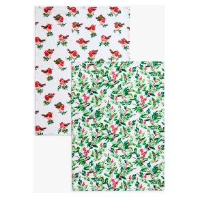 John Lewis Christmas Robin & Foliage Tea Towels