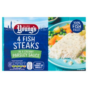 Young's 4 Fish steaks in Parsley Sauce