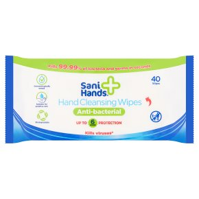 Sani Hands + Anti-Bacterial Hand Cleansing Wipes