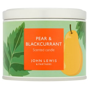 John Lewis Candle Tin Pear & Blackcurrant L