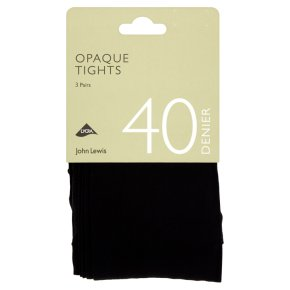 John Lewis 40 denier black opaque tights, pack of 3 (x-large)