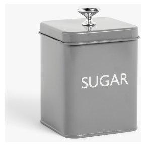 John Lewis Enamel Grey Sugar Tin