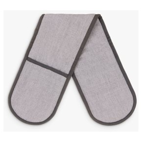 House by John Lewis Cotton Double Oven Glove, Steel