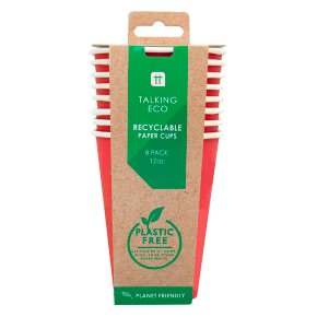 Talking Tables 8 Red Paper Cups 12oz/341ml