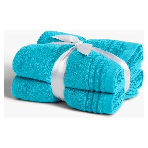 John Lewis Cotton Hand Towel Bale Blue 2 Pack