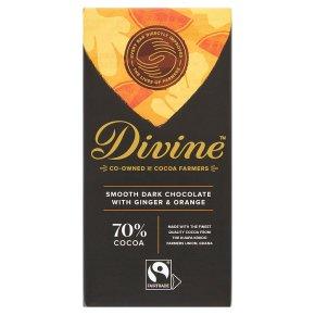 Divine Fairtrade 70% Dark Chocolate with Ginger & Orange