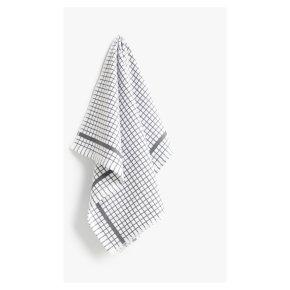 John Lewis Terry Check Cotton Tea Towel, Grey