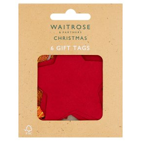 Waitrose 6 RED KRAFT STAR GIFT TAGS