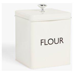 John Lewis Enamel Cream Flour Tin
