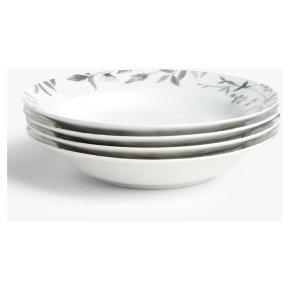 John Lewis Floral Monochrome Pasta Bowl x4